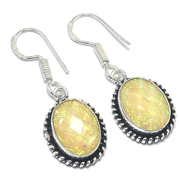 Gulf Coast Gems BOHO GCG Basics - Butter Yellow Opal Silver Earrings Earrings