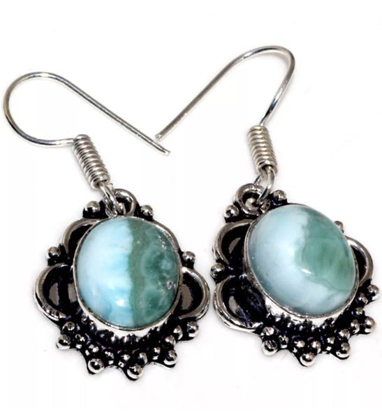 Gulf Coast Gems BOHO GCG Basics Larimar Silver Earrings Earrings