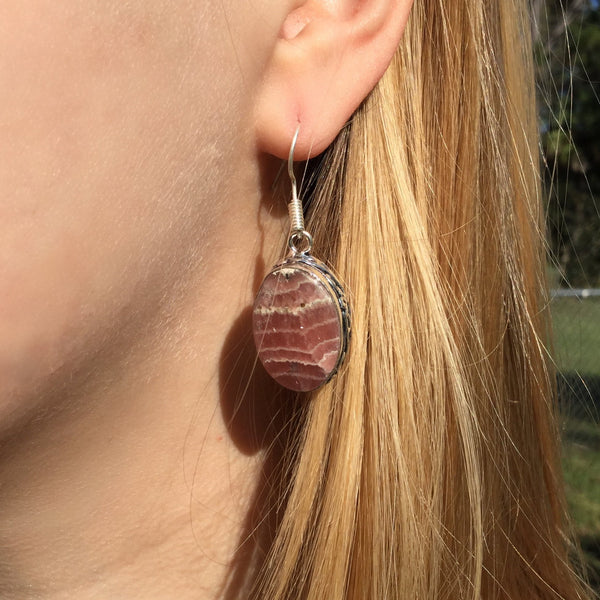Gulf Coast Gems BOHO GCG Basics - Rhodochrosite Silver Earrings Earrings