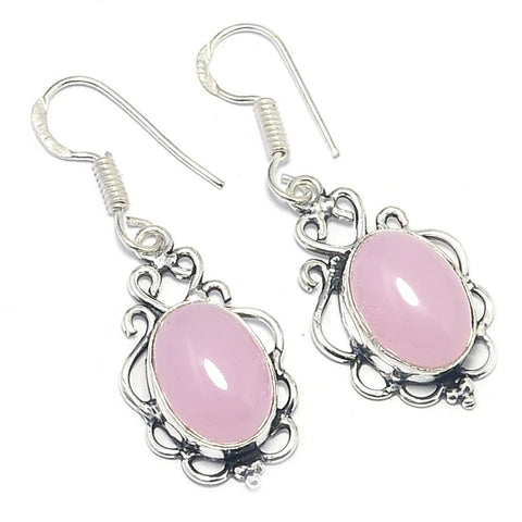Gulf Coast Gems BOHO GCG Basics - Rose Quartz Filigree Silver Earrings Earrings