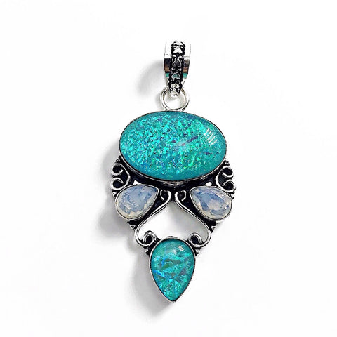 Gulf Coast Gems BOHO GCG Southern Lights Light Blue Opal Pendant Pendants