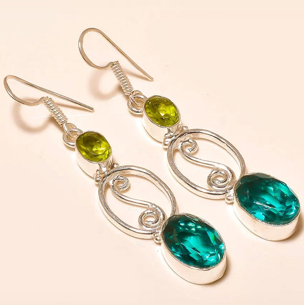 Gulf Coast Gems BOHO Peridot and Tourmaline Silver Earrings Earrings