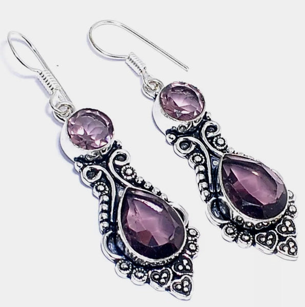 Gulf Coast Gems BOHO Vintage double Amethyst Silver Earrings Earrings
