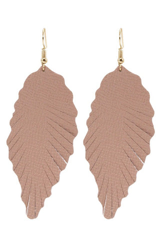 Leaf Shape Real Leather Earrings