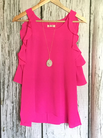 Pink Cold Shoulder Top