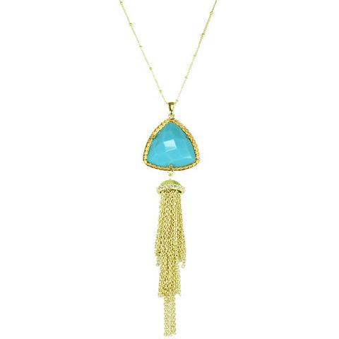 Triangle Shape with Tassel Necklace