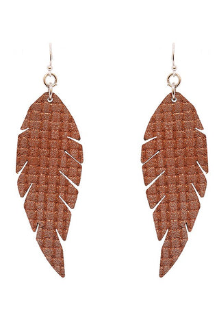 Feather Shape Leather Earrings