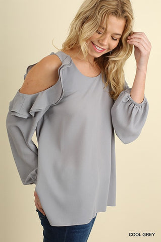 GREY COLD SHOULDER RUFFLED