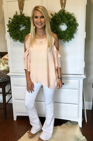 Bisque Cold Shoulder Top