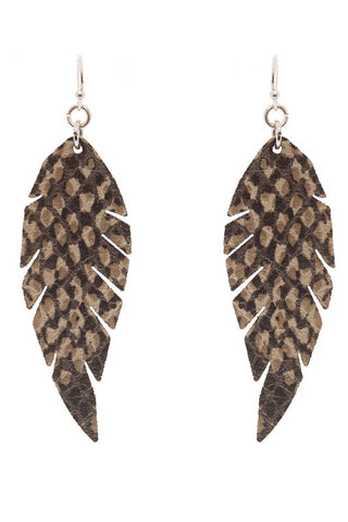 Feather Shape Leather Earrings 2 Colors Available