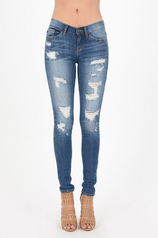 Medium Blue Distressed Skinny Jeans