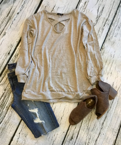 Taupe Cross Cross Top
