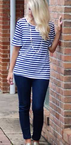 Short Sleeve Navy Stripe