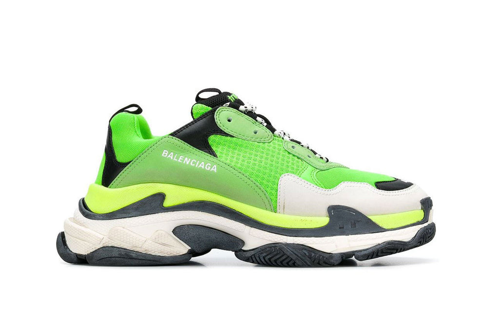 neon green Balenciaga triple S dad trainer