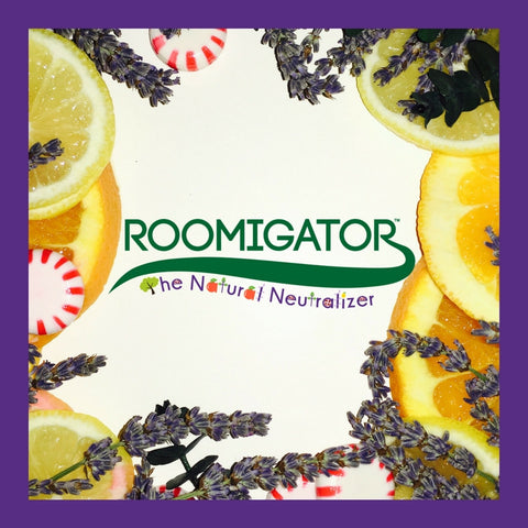 Roomigator logo on fruit and flower background
