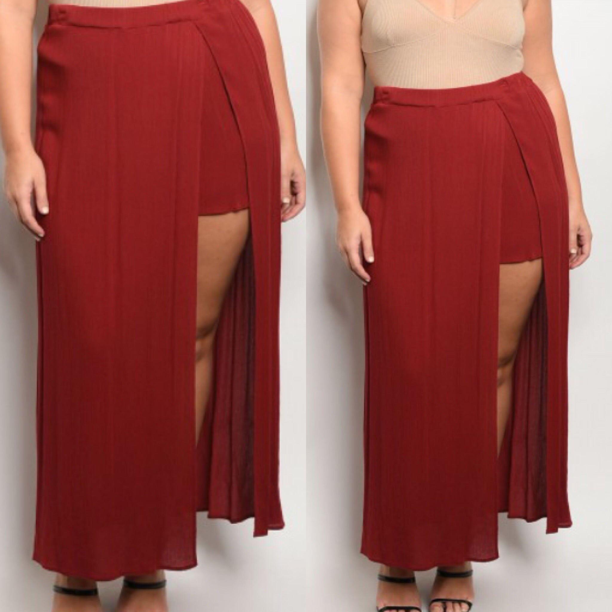 Plus size Red skort