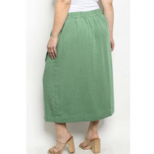Plus Size Green Button Skirt