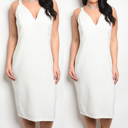 Plus-size White Fitted Dress
