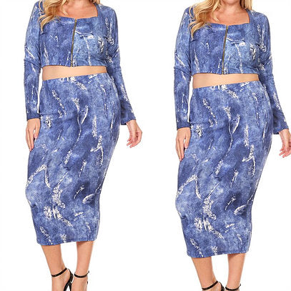 Plus Size Tide dye denim Two Piece Skirt Set.