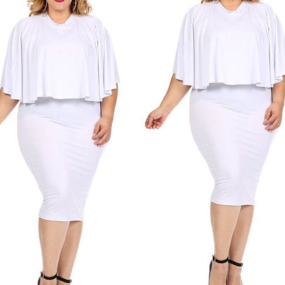 Plus Size Two Piece Cape top and Skirt Set
