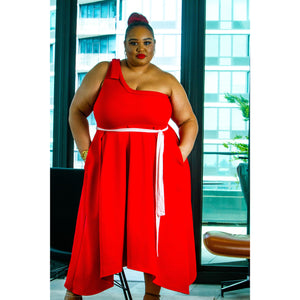 Plus Red A-Symmetrical Dress