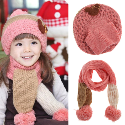 d5c10b52 Baby Hat Caps Scarf Set Baby Girls Cap Autumn Winter Warm Knit Children's  Hats for Girls