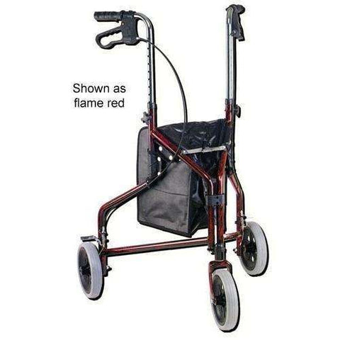 Rollator 3-Wheeled w/Pouch & Basket Loop Brake -Flame Red - Scroll Forever, 3-wheel rollators, Scroll Forever