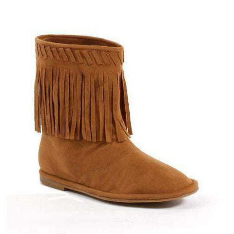 Flat Children's Moccasin Boot with Fringe.,1031-kids,Scroll Forever,Scroll Forever