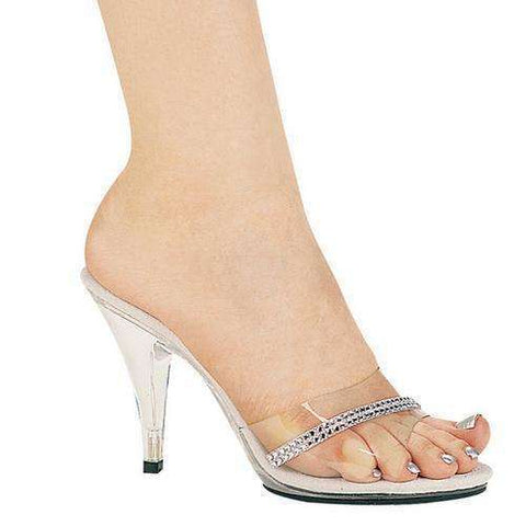"4"" Heel Clear Mule W/Rhinestones.,4 inch sandals & pumps-405,Scroll Forever,Scroll Forever"