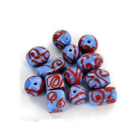 Blue & Red Swirly Bead Mix ( Case of 30 ),,Scroll Forever,Scroll Forever