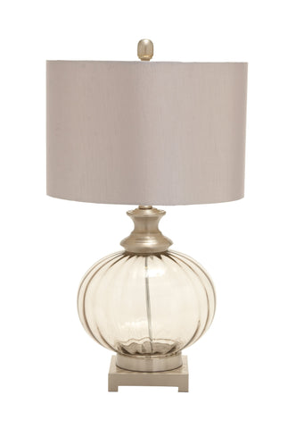 Wonderful styled glass metal table lamp,,Benzara,Scroll Forever