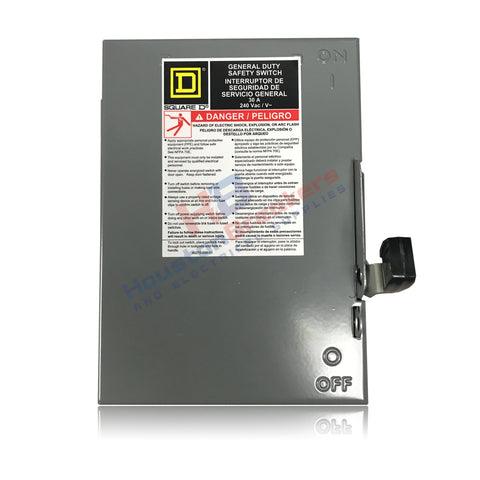 DU321 Square D 30A NEMA 1 Indoor Non-Fuse Disconnect
