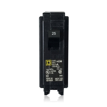 HOM125 1 Pole 25 Amp Type HOM Square D Plug-in Circuit Breaker