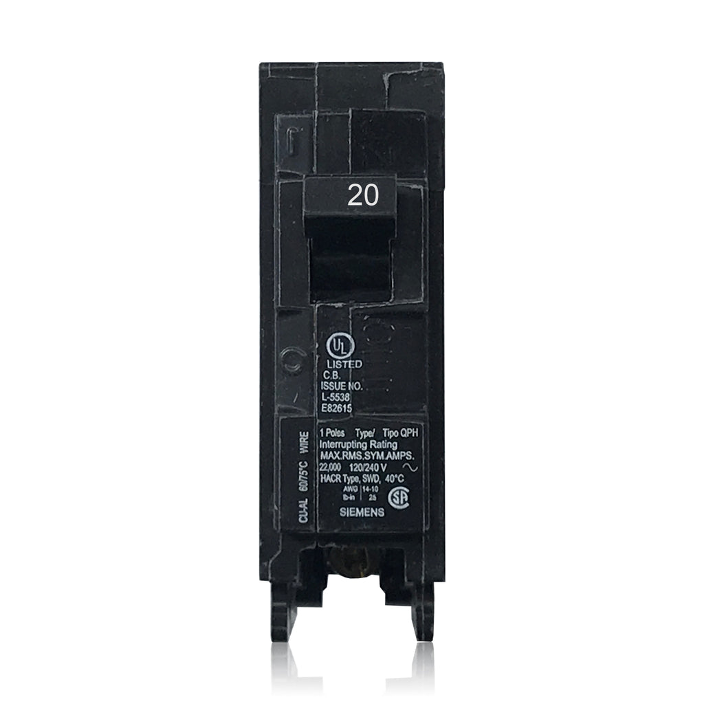 Q120H 1 Pole 20 Amp 22k Rated Siemens Plug-in Circuit