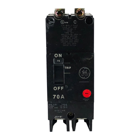 TEY270 70 Amp Double 2 Pole Type TEY GE General Electric Circuit Break Houston Breakers And Electrical Supplies