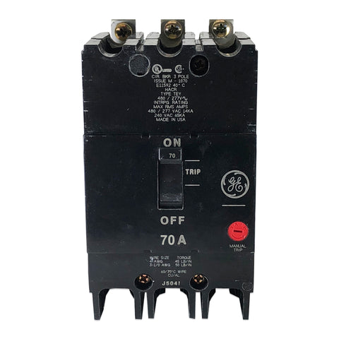 TEY370 70 Amp Three 3 Pole Type TEY GE General Electric Circuit Breake Houston Breakers And Electrical Supplies