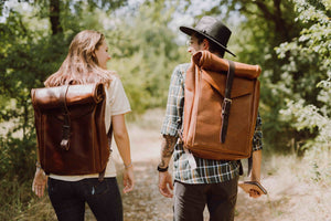 Full Grain Leather Rolltop affordable backpack