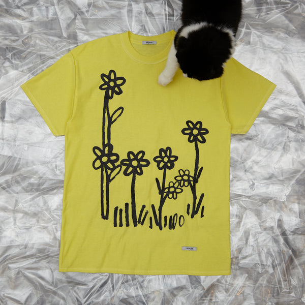 Dear John Tee Lemon with Flowers by artist John Booth for BLOUSE by Geoffrey J Finch. Image 1.