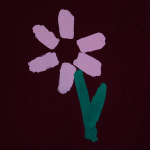 Slim Pickings Tee Maroon with Pink Vacant Daisy Flower by artist John Booth for BLOUSE by Geoffrey J Finch. Image 5.