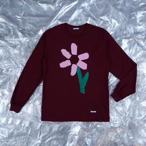 Slim Pickings Tee Maroon with Pink Vacant Daisy Flower by artist John Booth for BLOUSE by Geoffrey J Finch. Image 2.