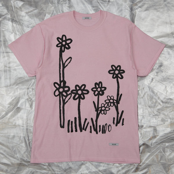 Dear John Tee Pink with Flowers by artist John Booth for BLOUSE by Geoffrey J Finch. Image 1.