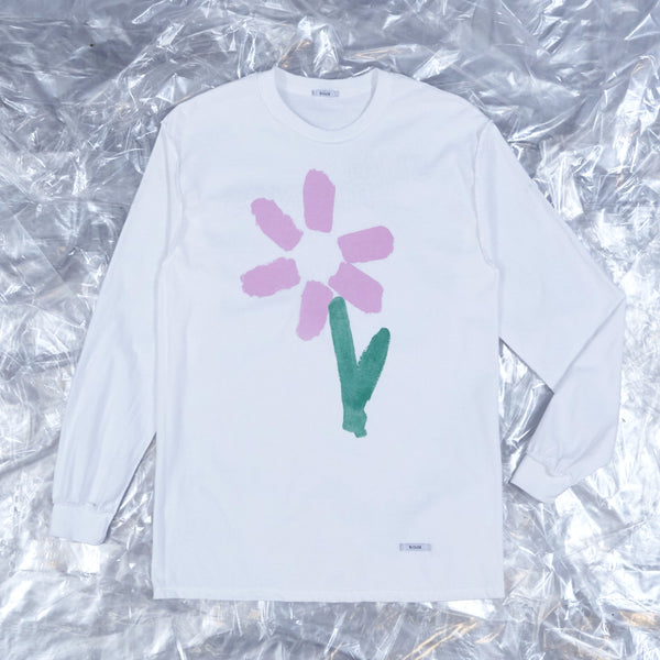 Slim Pickings Tee White with Pink Vacant Daisy Flower by artist John Booth for BLOUSE by Geoffrey J Finch. Image 1.