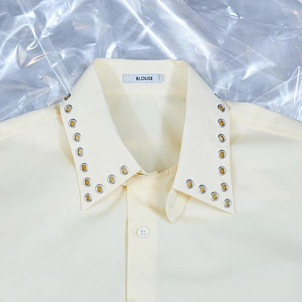 'Bobby' - Shirt, lemon with eyelets