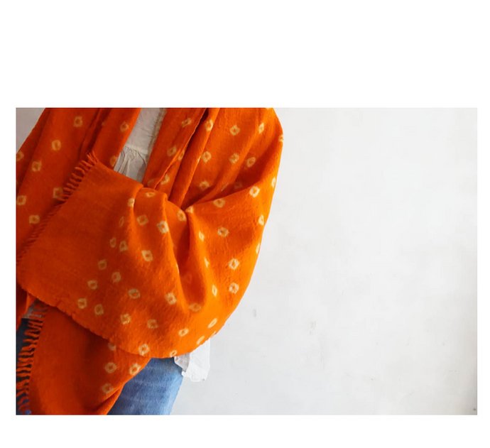 Auntie Oti Wool Tie Dye Scarf in Orange
