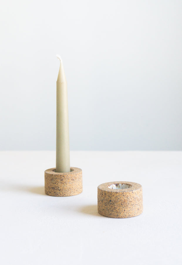 Mani Candle Holder in Sandstone and White