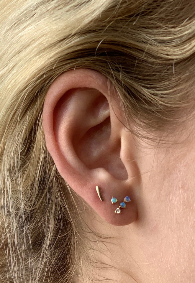 Three Step Opal and Diamond Earring