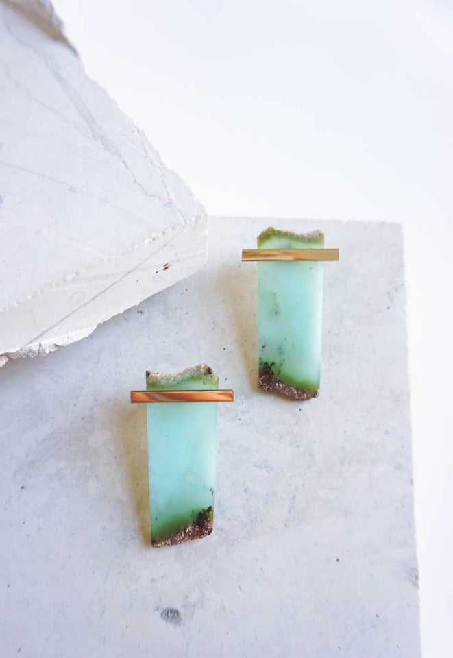 Chrysoprase Slice with Horizontal Plate Studs
