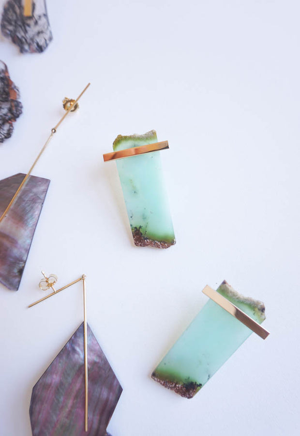 Kathleen Whitaker Chrysoprase Slice with Horizontal Plate Studs 14K (PAIR)
