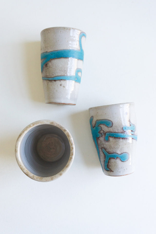 Ceramic Tumbler with Turquoise Splatter