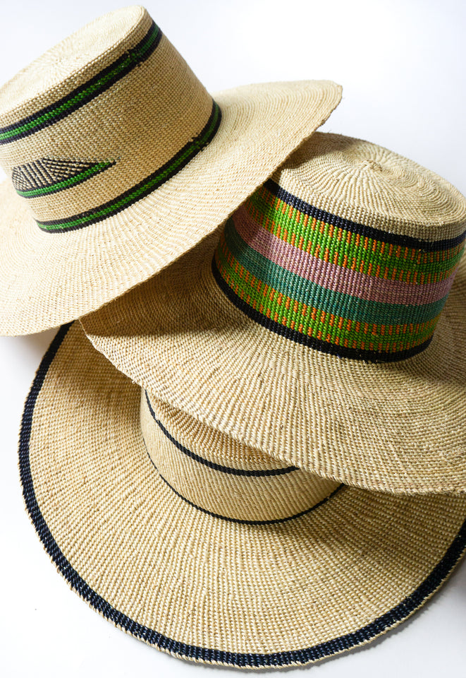 African Rainbow Stripe Straw Hat